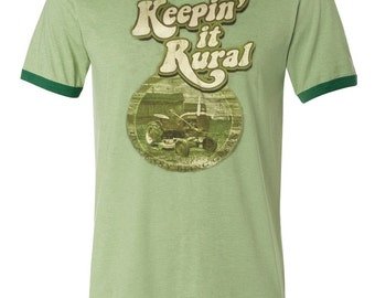Country Farm Shirt, Keepin' It Rural T-Shirt, It's Easy Being Green, Unisex Ringer Tee, Vintaged Retro Top with Tractor