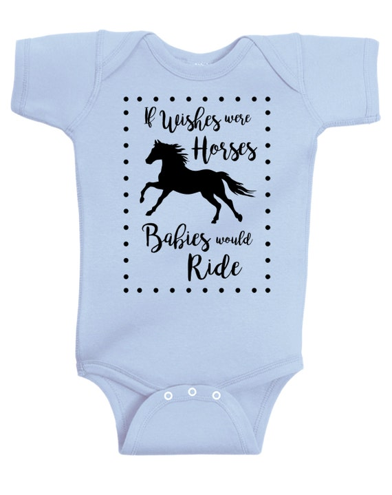 If Wishes Were Horses Baby Horse Onesie, Infant Baby Shower Gift for Girls Boys or Surprise, Blue Gray Yellow Mint Equestrian Clothing