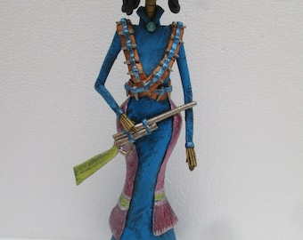 """Revolutionary soldier CATRINA hand made day of the dead mexican folk art 13"""""""