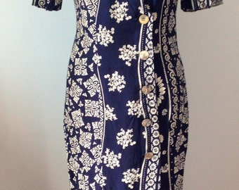 Dress, flowers, vintage 90, blue and white, size S/36