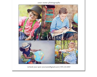 Mini Session Postcard - Photography Template - Flyer - Back To School - Kids - Minis - Photoshop - Elements - Easy - 6x6 - Square