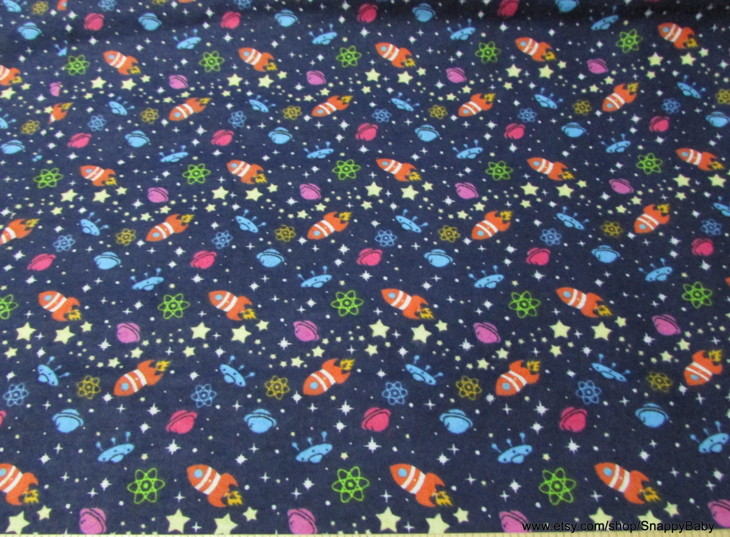 Flannel fabric rocket in space 1 yard 100 cotton for Space fabric by the yard