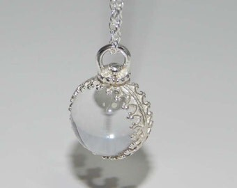 Sphere Necklace. Clear Quartz Crystal Ball. Sphere Pendant in Sterling Silver Setting. Orb Necklace.