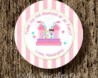 bounce house label - bouncing printable - bounce house tag - bounce house sticker - girl bounce house party . bounce cupcake topper