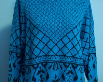 80's Bright Blue Oversized Geometric Print Statement Cozy Sweater