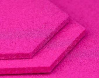 Housewarming gift: hexagon felt coasters, 10,4 x 9 cm, pink, magenta