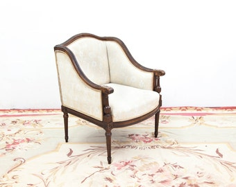 French Carved Walnut Low Bergere Chair