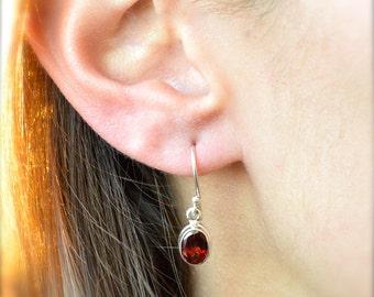 Oval Garnet Dangle Earrings