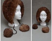 Vintage hat, 1970's Sheepskin trapper hat, Brown Lamb skin fur, fleece winter bonnet with pom pom ties, Head hugger, Boho / Hippy /Hippie