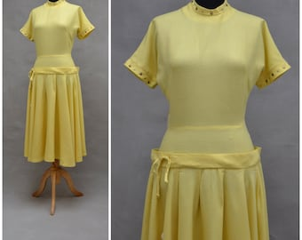 Vintage dress, 1950s Yellow tailored gown, Full swing skir with drop waist styling, Rhinestone / PomPom / Stud detailing, Rockabilly