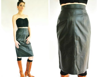 Black Leather Pencil Skirt - High Waisted 80's Skirt - Size Small