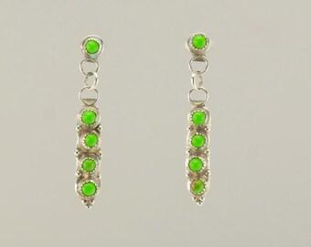 Sterling Silver Green Howlite Stud Earrings