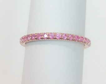 14K Rose Gold Pink Sapphire Half Eternity Ring 1.6mm Blushing Bride Pave Eternity Band 14K Pink Sapphire Matching Eternity Ring Birthstone