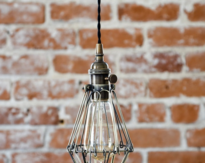 Free Shipping! Industrial Antique Brass Cage Wire Hanging Pendant Light Handmade with Plug Switch Edison Lighting Plug In Pendant Light