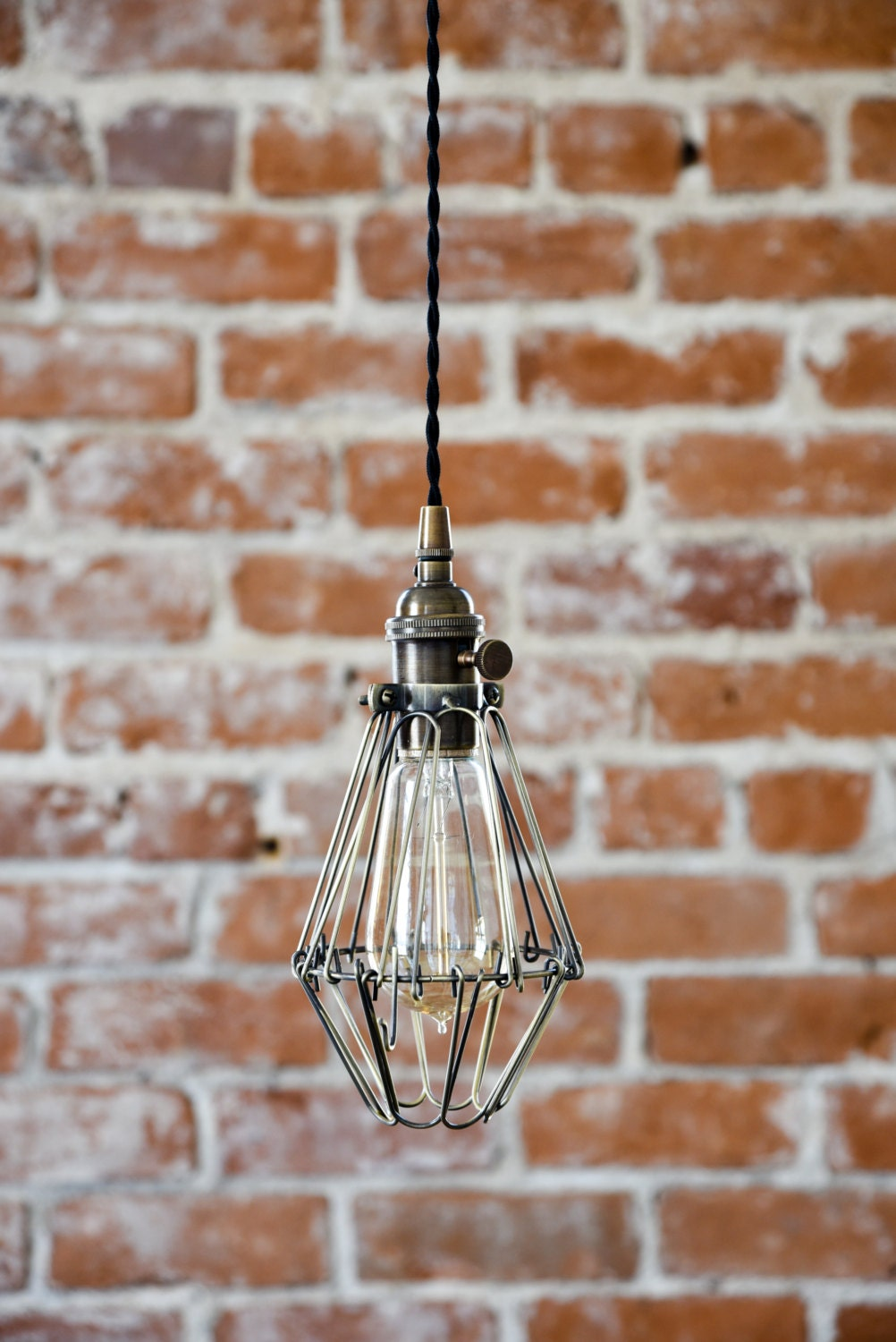 industrial antique brass cage wire hanging pendant light handmade with plug switch edison lighting plug in pendant light