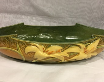 Beautiful ROSEVILLE Zephyr Lily Console Bowl #478-12, Green, Ca. 1946