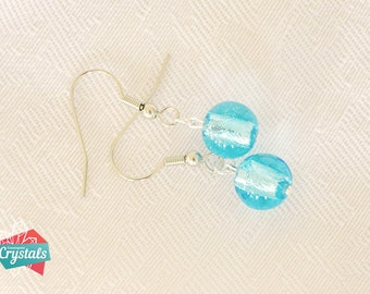 Blue Czech Glass earrings, Turquoise Earrings,Blue Glass earrings,Baby Blue earrings,Ball earrings,Dangle blue earrings