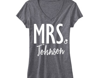 CUSTOM MRS. GLITTER Bride Shirt Silver Gray V-neck - Add your name, Bride Gift, Wedding shirt, Bridal shirt, Bride Vneck, wedding