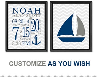 Nautical baby gift etsy nautical birth stats wall art nautical baby gift nautical baby decor birth announcement negle Gallery