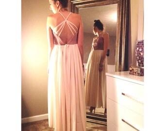 Pink Velvet + chiffon, Braided Straps, beautiful dress!!