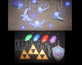 Legend of Zelda inspired Fairy String Light 20 led bulbs 5ft long Blue with *BONUS* triforce, rupee, tears of light and Hylian Shield
