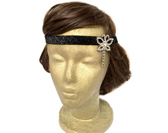 Black Flapper Headband with Butterfly Jewelry Gatsby Fascinator Headband 20s Flapper Headband Old Hollywood Great Gatsby Fashion Gift Idea