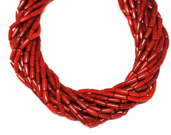 "Long Tube Bamboo Coral  BARREL Beads 24""L"