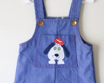 Vintage 1980s Baby Boy Romper Overalls with Cute Dog Appliquéd Pocket Light Cotton Denim 3 Month Old