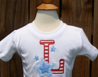 Personalized 4th of July Initial Star Applique Shirt or Onesie Girl Boy