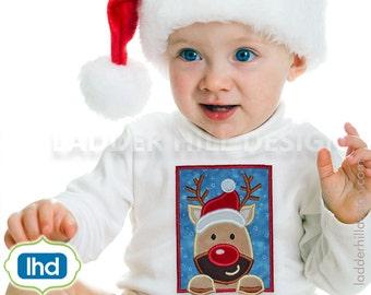 Peeking Reindeer Applique ~ Christmas Applique Design CHR014