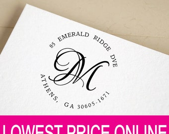 Return Address Stamp, Personalized Self Inking Round Address Monogram Stamp, Custom Calligraphy Wedding Stamp, Personalized Stamp R624