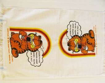 Vintage Garfield Hand Towel Garfield Towel Orange Hand Towel Garfield Dish Towel Mod Towel Orange Towel Cat Towel Diet 1970's Towel