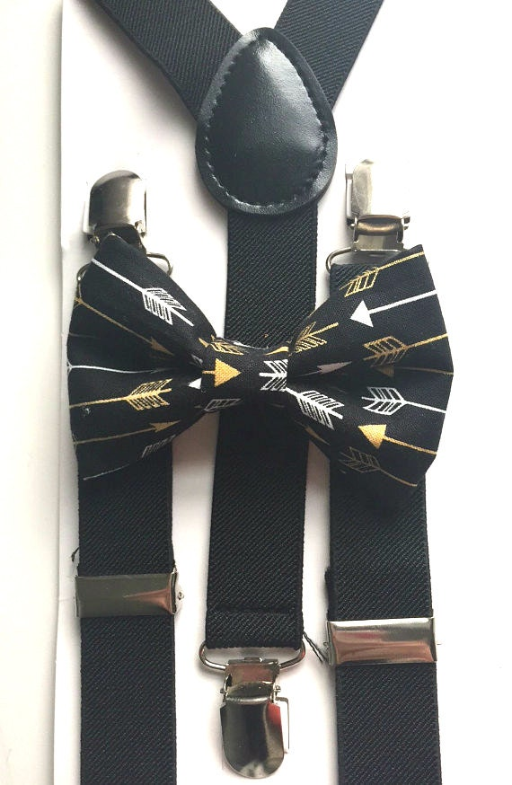 Black Suspenders and Gold Arrows Bow Tie