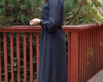 Black Semi-Sheer Secretary Dress Ms. Chaus label Silky Chiffon Dress