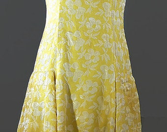 Vintage 1960 Scooter Yellow Brocade Dress. Saks Fifth Ave Scooter Dress