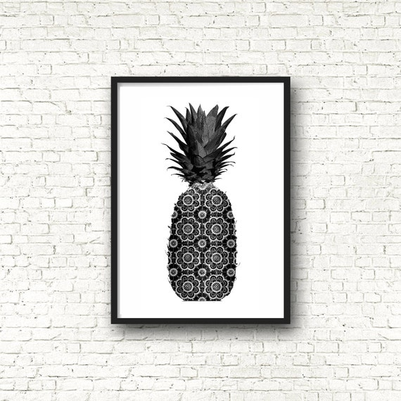 items similar to pineapple print pineapple wall art minimal art black and white fruit black. Black Bedroom Furniture Sets. Home Design Ideas