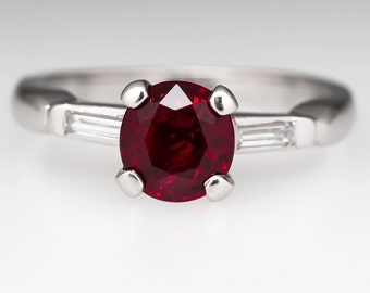 Vintage Ruby Engagement Ring – 1.6 Carat Ruby Ring Platinum with Diamond Accents WM10300