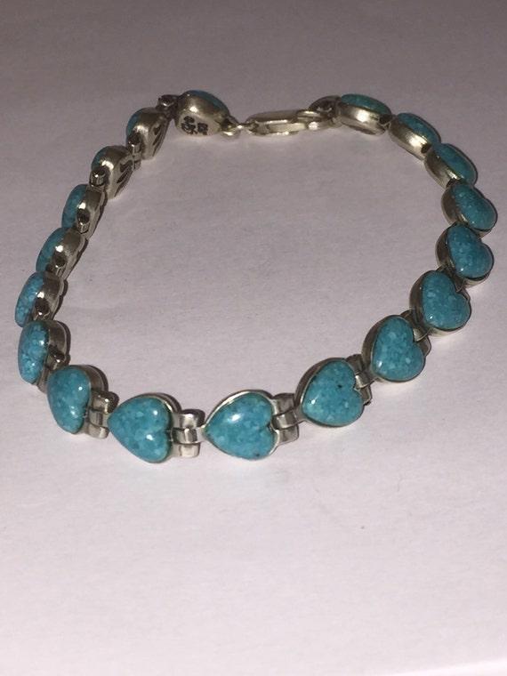 Carolyn Pollack Turquoise Heart Bracelet 7 5 Reversible