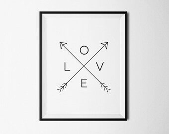 Love print, Love art, Arrow Love Print, Love poster, Love printable, Love arrow print, Black and White, Love Art Wall Decor, Love prints