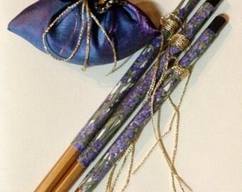 Lavender & Decorative Pencil Set - Personalised Pencils - Desk Set - Lavender - Australian Seller