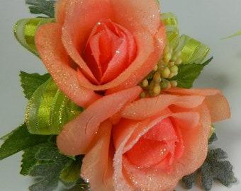 PEACH ROSE WRISTLET and Boutonniere