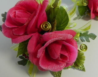 HOT PINK ROSE Wristlet and Boutonniere