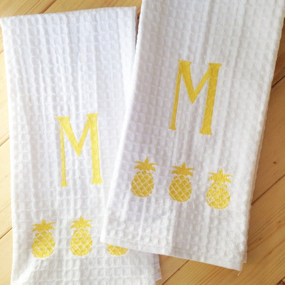Monogram Waffle Weave Kitchen Towel With By SouthernLinen