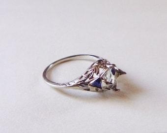 Art Deco floral filigree white gold antique engagement 7 mm mount trillion sapphires size 7.5