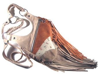 "Holster bag leather fringed bag bohemian style festivalbag cross body bag shoulder holster leather festivalbag revolverbag ""Joline"""