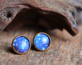 Galaxy earrings, antiqued brass earrings, blue universe stud earrings, glass dome earrings, antique brass / silver plated earrings