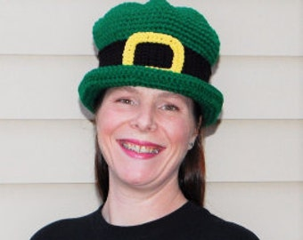 Leprechaun hat, Irish hat, Green hat, Luck of the Irish, St Patrick's hat, Crochet Irish hat, Adult Leprechaun hat