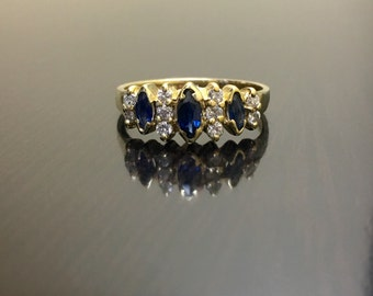 14K Yellow Gold Sapphire Diamond Engagement Ring - 14K Gold Sapphire Diamond Wedding Ring - Marquise Sapphire Diamond Ring - Sapphire Ring