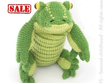 SALE toy, green alligator stuffed animal, Knit crocodile soft toy, Plush kids toy, Baby shower gift for baby boy, ready to ship