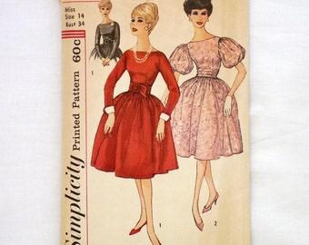 Vintage Simplicity 3150 size 14 uncut dress pattern 1960s sewing pattern bust 34